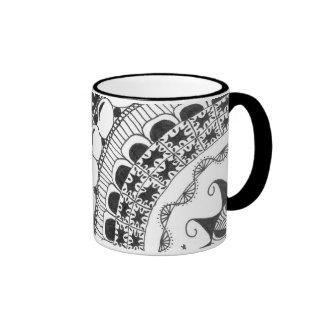 zentangle mandala - waves coffee mug