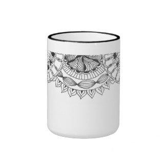 zentangle mandalas - petals coffee mug