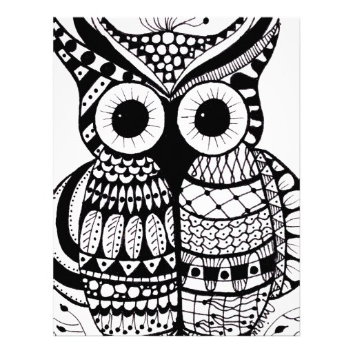 zentangle owl coloring pages - photo#16