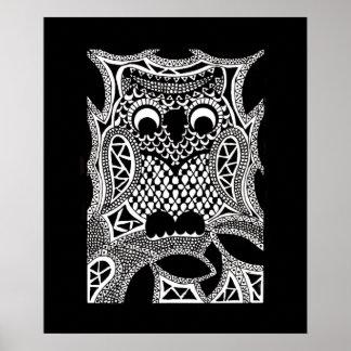 Zentangle Owl Posters