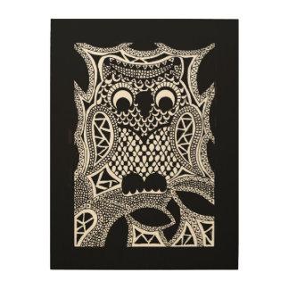 Zentangle Owl Wood Print