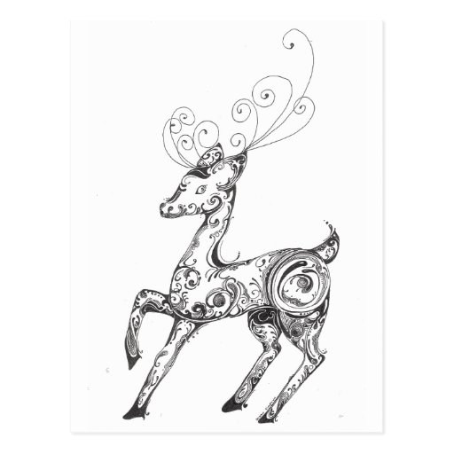Zentangle Reindeer Postcards