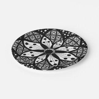 Zentangle Rosette 7 Inch Paper Plate