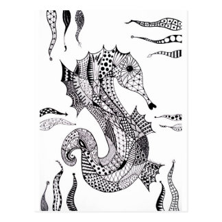 Zentangle Sea Horse Post Card