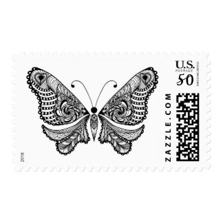 Zentangle Style  Butterfly Postage