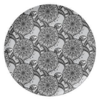 Zentangle Style Turtle Pattern Dinner Plate