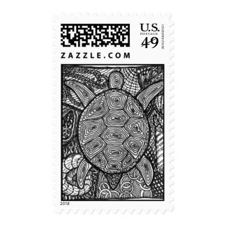 zentangle turtle postage stamps