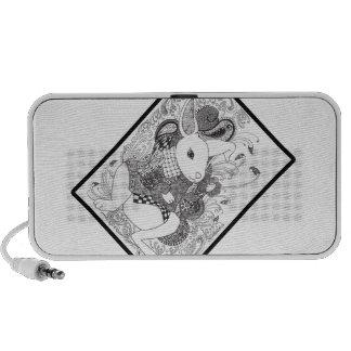 Zentangled White Rabbit from Alice in Wonderland Portable Speaker