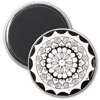 zentnagle mandala - heart flower 2 inch round magnet