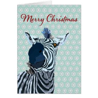 Zenya azul y navidad blanco del copo de nieve que  tarjeta de felicitación