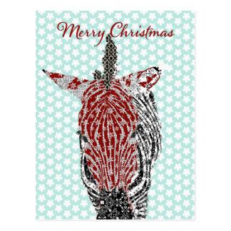 Zenya Zebra Blue Star Postcard Christmas