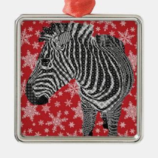 Zenya Zebra Red Snowflake Christmas Ornament