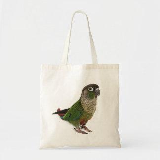 Zeph (conure verde) de la mejilla - tote bolsa tela barata