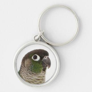 Zeph (green cheek conure) - Round Keychain 1