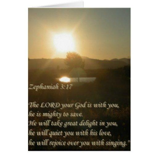 Zephaniah 3:17 greeting card
