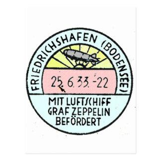 Zeppelin Design of Original Postmark Postcard