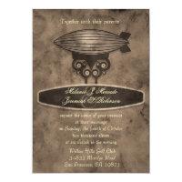 Zeppelin Steampunk Wedding Invitation