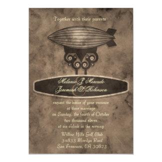 "Zeppelin Steampunk Wedding Invitation 5"" X 7"" Invitation Card"