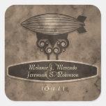 Zeppelin Steampunk Wedding Sticker