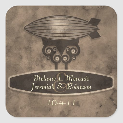Zeppelin Steampunk Wedding Sticker