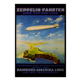 Zeppelin Trips ~ Over Sea and Land Print
