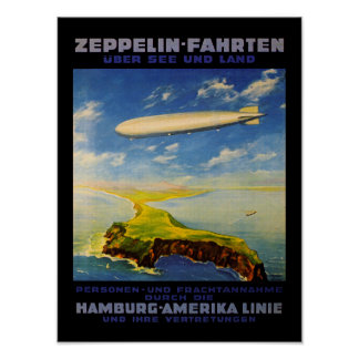 Zeppelin Trips ~ Over Sea and Land Poster