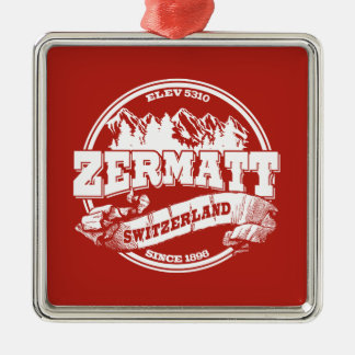 Zermatt Old Circle Red Square Metal Christmas Ornament