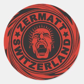 Zermatt Red Scream Classic Round Sticker