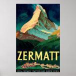 Zermatt Switzerland Matterhorn Vintage Art Poster
