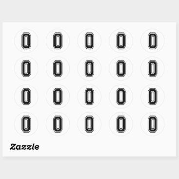 Zero 0 Black Sports Font Classic Round Sticker