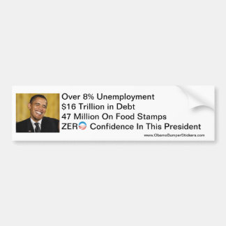 Zero Confidence Anti-Obama Car Bumper Sticker