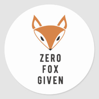 Zero Fox Given Classic Round Sticker