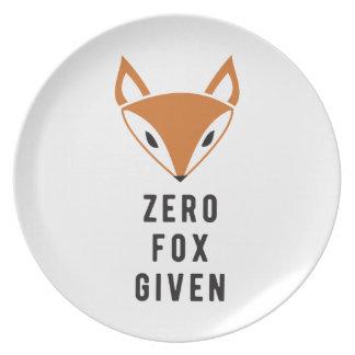 Zero Fox Given Dinner Plate