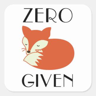 Zero Fox Given Square Sticker