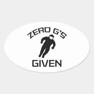 Zero G's Given Oval Sticker