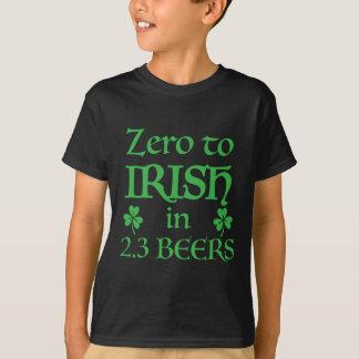 zero to irish in 2.3 beers T-Shirt