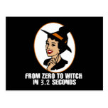 Zero to Witch 50's Style (Color) Postcard