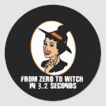 Zero to Witch 50's Style (Color) Round Stickers
