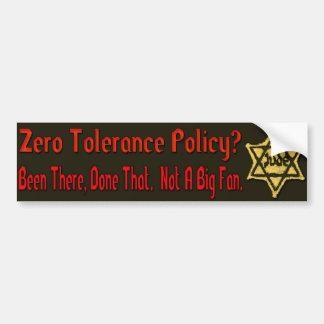 Zero Tolerance Car Bumper Sticker