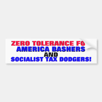ZERO TOLERANCE FOR AMERICA BASHERS, TAX BUMPER STICKER