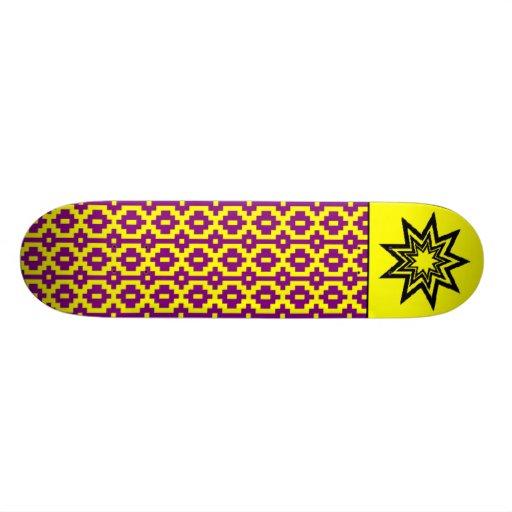 Zerodraline Purple-Yellow Pattern Skateboard