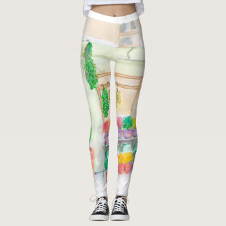 Zest for Life with Parisian flowers Leggings