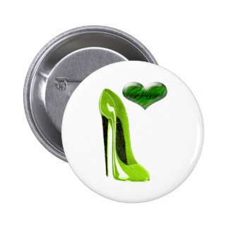 Zesty Lime Green Stiletto Shoe and 3D Heart 2 Inch Round Button