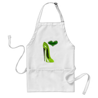 Zesty Lime Green Stiletto Shoe and 3D Heart Adult Apron