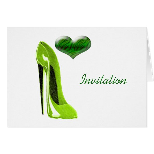 Zesty Lime Green Stiletto Shoe and 3D Heart Card
