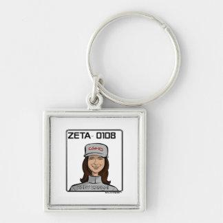 ZETA 0108 - Kory Karzai Silver-Colored Square Keychain