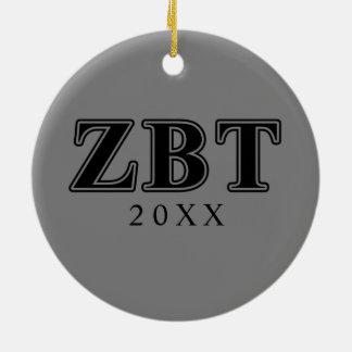 Zeta Beta Tau Black Letters Ornament
