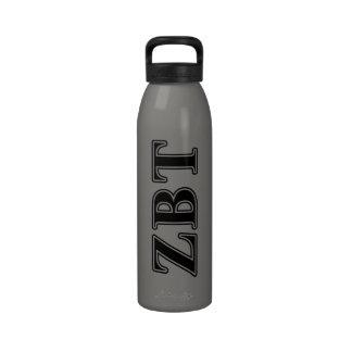 Zeta Beta Tau Black Letters Reusable Water Bottle
