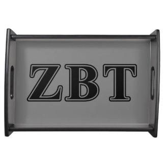 Zeta Beta Tau Black Letters Serving Tray