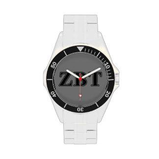 Zeta Beta Tau Black Letters Wrist Watch
